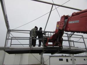 Ruchomy podest przy budowie hali MDS Transsped Poznań